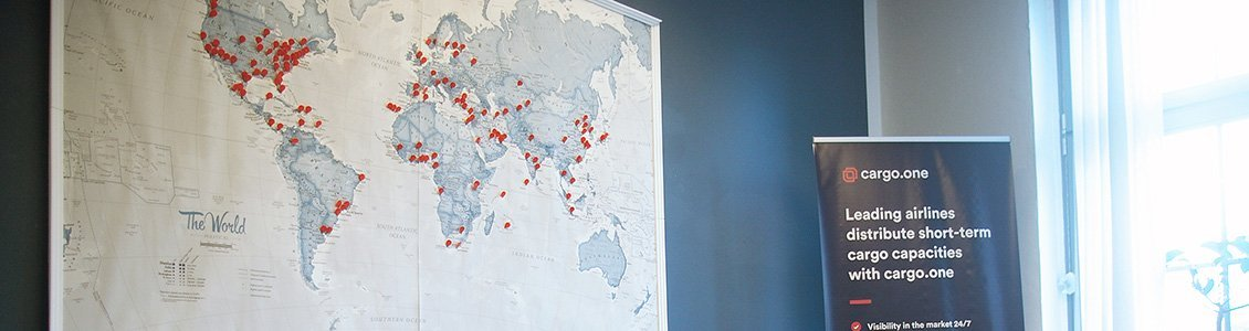 Weltkarte im Büro von cargo.one für die ESCP